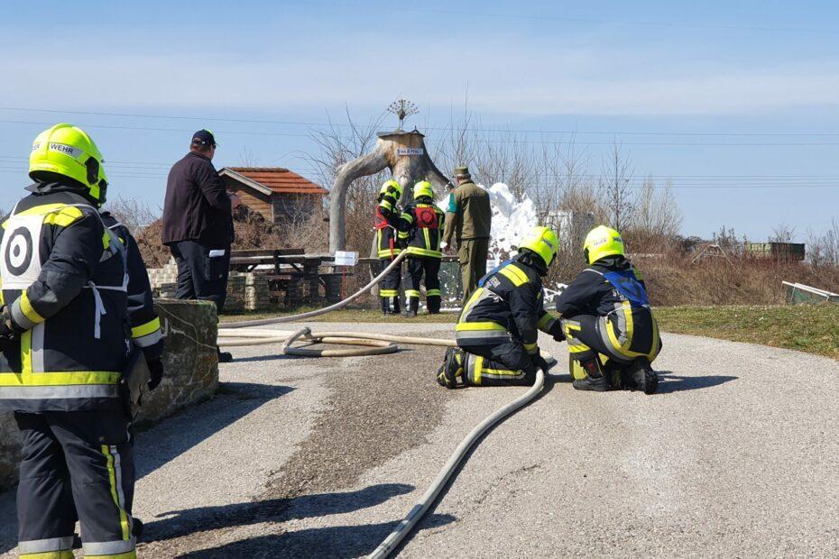 Fünf Gruppen bei der Branddienstleistungsprüfung
